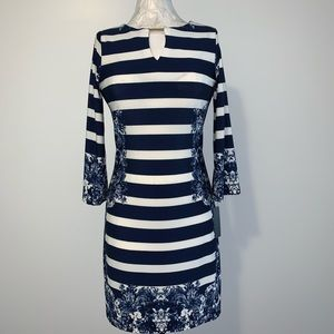 Haani Blue Floral And Stripe Dress